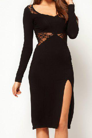 2018 Sexy Scoop Neck Long Sleeve Lace Splicing See Through