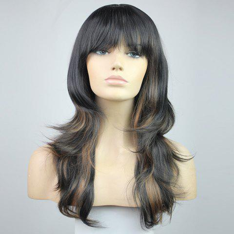 Sale Chic Fluffy Natural Wavy Heat-Resisant Side Bang Mixed Color Charming Women's Synthetic Hair Wig