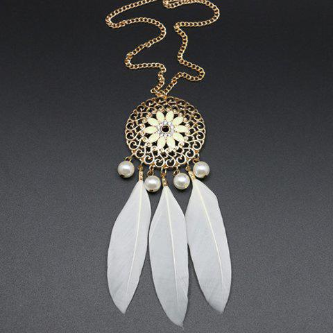 Cheap Vintage Faux Pearl Decorated Feather and Flower Shape Necklace For Women WHITE