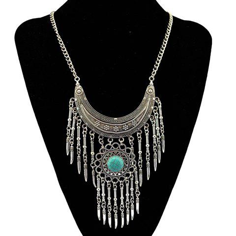 Outfit Bohemia Turquoise Crescent Necklace For Women SILVER AND BLUE