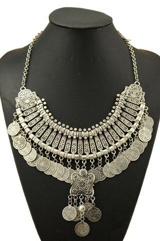 Online Retro Printed Round Necklace For Women