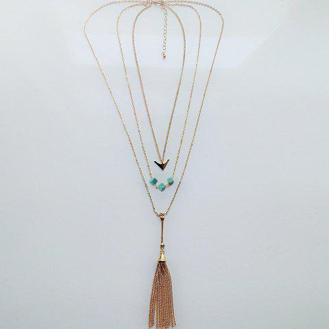 Latest Chic Turquoise Arrow Tassel Sweater Chain Necklace For Women