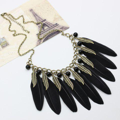 Unique Chic Beads Leaf Feather Necklace For Women BLACK AND GOLDEN
