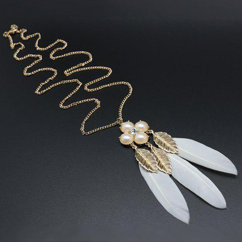 Leaf Faux Pearl Feather Pendant Sweater Chain - White And Golden