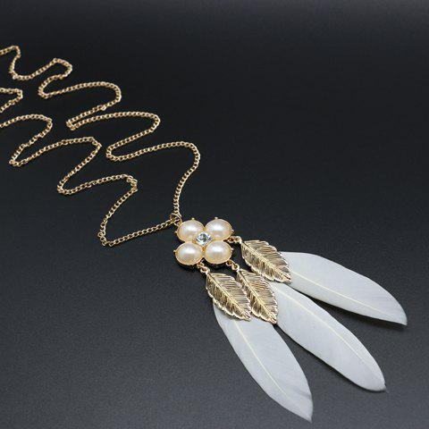 Trendy Leaf Faux Pearl Feather Pendant Sweater Chain - WHITE AND GOLDEN  Mobile