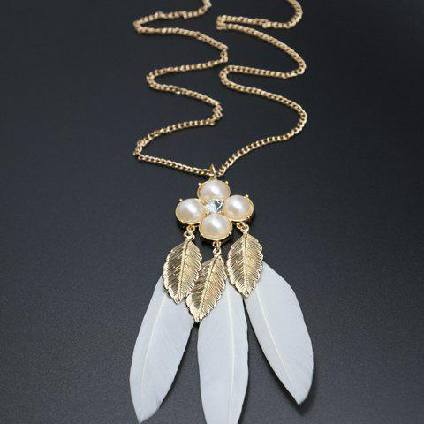 Fancy Leaf Faux Pearl Feather Pendant Sweater Chain - WHITE AND GOLDEN  Mobile