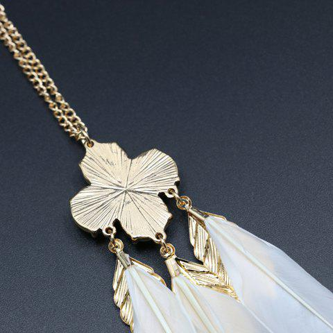 Buy Leaf Faux Pearl Feather Pendant Sweater Chain - WHITE AND GOLDEN  Mobile