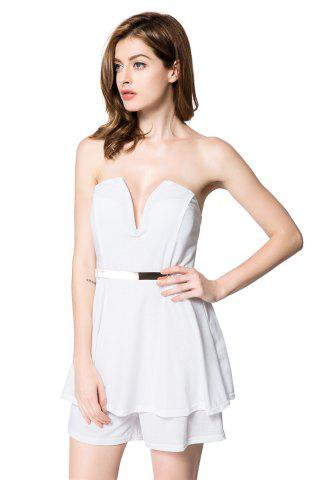 Buy Alluring Strapless Sleeveless Low Cut Flounced Women's Romper