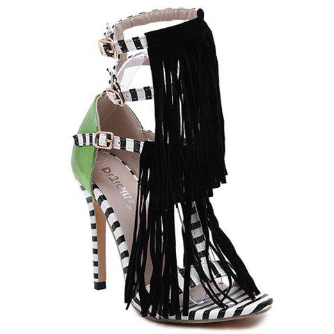 Outfit Fashion Fringe and Color Block Design Women's Sandals