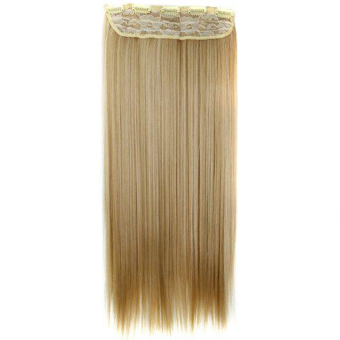New Trendy 23 Inch Long Straight Clip-In Heat Resistant Synthetic Hair Extension For Women - 27/613#  Mobile