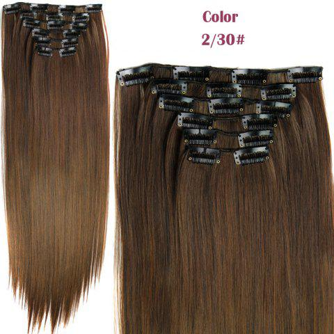 New Long Straight Clip-In Heat Resistant Synthetic Hair Extension Suit For Women - 2/30#  Mobile