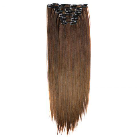 Buy Long Straight Clip-In Heat Resistant Synthetic Hair Extension Suit For Women - 2/30#  Mobile