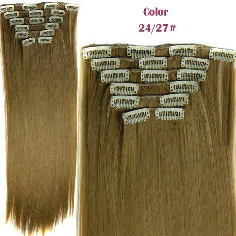 Trendy Long Straight Clip-In Heat Resistant Synthetic Hair Extension Suit For Women /