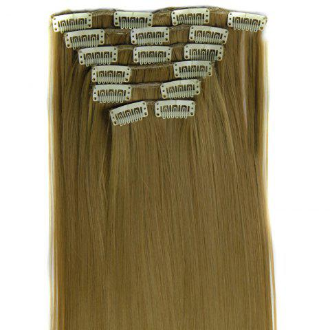 Chic Long Straight Clip-In Heat Resistant Synthetic Hair Extension Suit For Women - 24/27#  Mobile