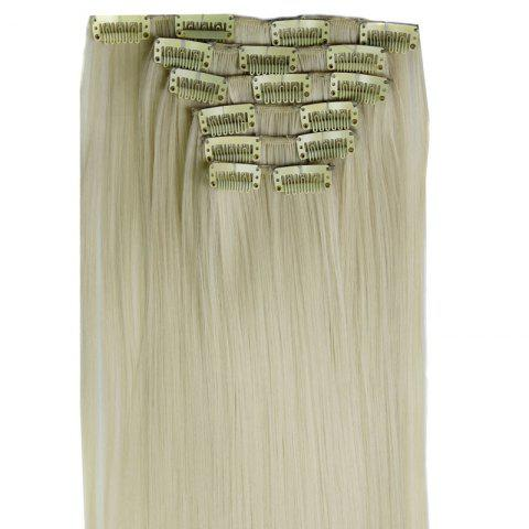 Discount Long Straight Clip-In Heat Resistant Synthetic Hair Extension Suit For Women - BLONDE #613  Mobile