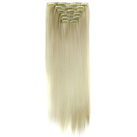 Chic Long Straight Clip-In Heat Resistant Synthetic Hair Extension Suit For Women - BLONDE #613  Mobile