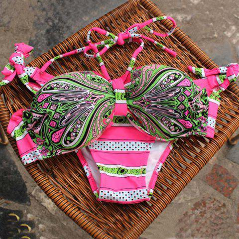 Best Alluring Halter Lace-Up Printed Women's Bikini Set