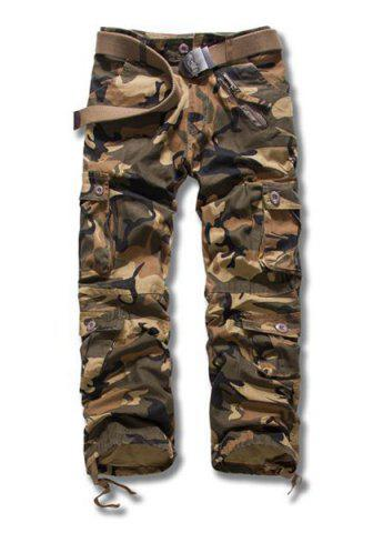 Online Camouflage Style Straight Leg Loose Fit Multi-Pocket Lacing Cuffs Zipper Fly Men's Plus Size Cargo Pants EARTHY 38