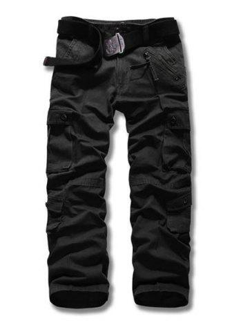 Trendy Loose Fit Straight Leg Multi-Pocket Suture Design Zipper Fly Plus Size Men's Cargo Pants - 38 BLACK Mobile