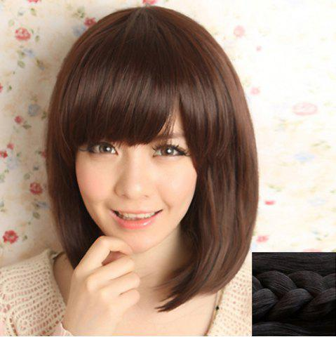 Chic Stylish Silky Side Bang Sweet Style Medium Straight Synthetic Capless Wig For Women - BLACK  Mobile