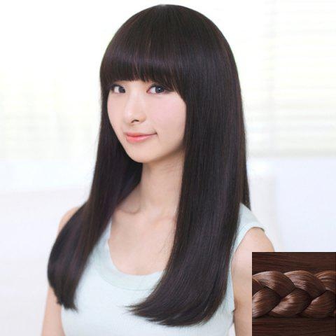 Latest Stylish Neat Bang Ladylike Charming Long Straight Synthetic Capless Wig For Women