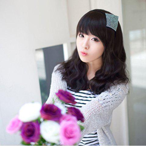 Fashion Stylish Towheaded Full Bang Charming Ladylike Long Wavy Synthetic Capless Wig For Women - BLACK  Mobile