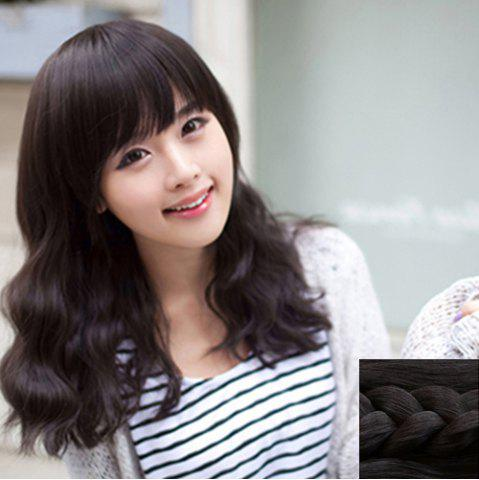Hot Stylish Towheaded Full Bang Charming Ladylike Long Wavy Synthetic Capless Wig For Women BLACK