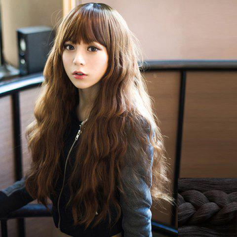 Trendy Fashion Fluffy Full Bang Ladylike Long Loose Wave Synthetic Capless Wig For Women - BLACK  Mobile