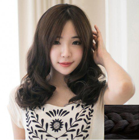 Trendy Fluffy Centre Parting Ladylike Long Wavy Synthetic Capless Wig For Women - BLACK