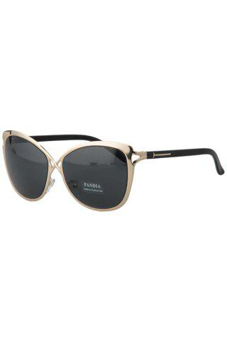 Chic Hollow Out Golden Cross Sunglasses For Women - Deep Gray