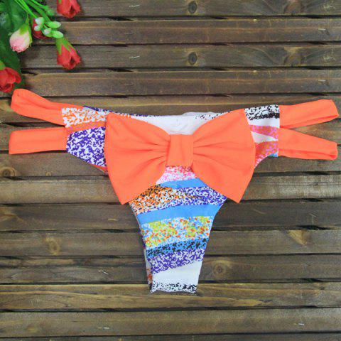 Fashion Bowknot Color Block Skimpy Bikini Bottom - S COLORMIX Mobile