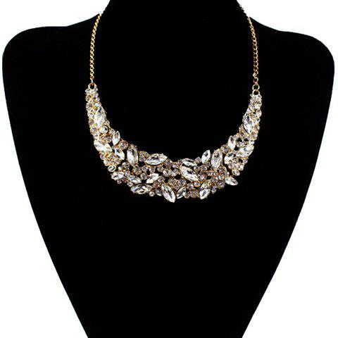 Online Delicate Faux Crystal Decorated Moon Shape Necklace For Women GOLDEN