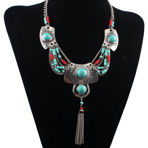 Cheap Ethnic Turquoise Tassel Necklace For Women