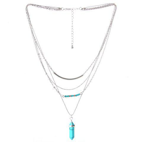 Buy Vintage Faux Turquoise Layered Pendant Necklace