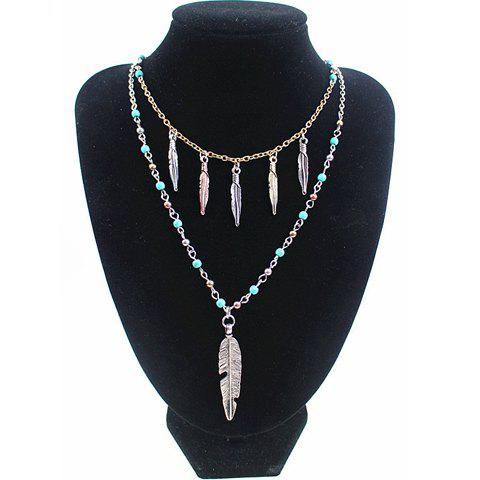 Sale Retro Ellipse Turquoise Leaf Feather Necklace For Women