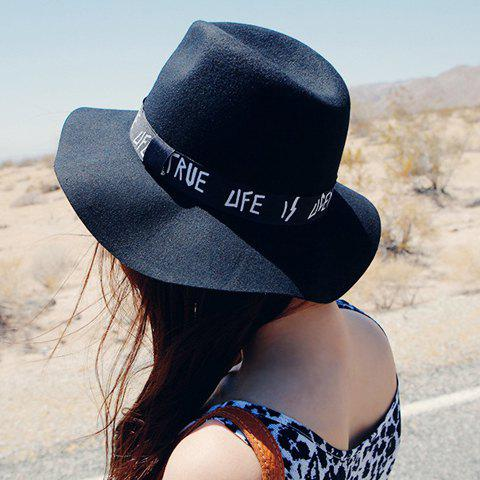 Chic Chic Letters Pattern Strap Embellished Felt Bucket Hat For Women