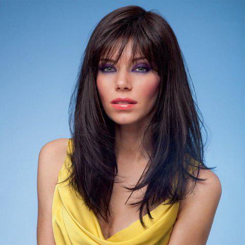 Online Fullness Layered Long Natural Straight Side Bang Affordable Women's Capless Real Human Hair Wig