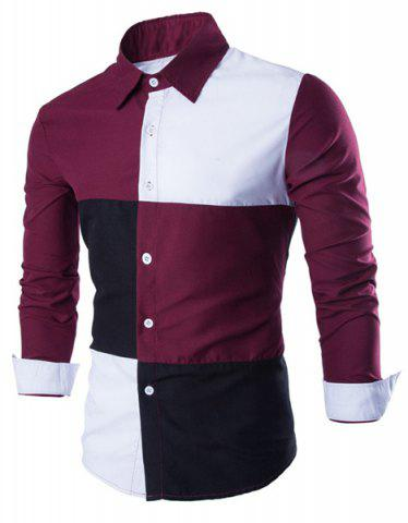 Shops Fashion Shirt Collar Color Block Stitching Slimming Long Sleeve Cotton Blend Shirt For Men