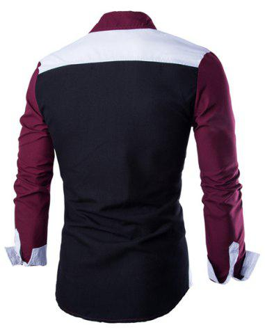 Chic Fashion Shirt Collar Color Block Stitching Slimming Long Sleeve Cotton Blend Shirt For Men - L RED WITH WHITE Mobile