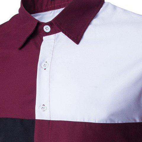 Latest Fashion Shirt Collar Color Block Stitching Slimming Long Sleeve Cotton Blend Shirt For Men - L RED WITH WHITE Mobile