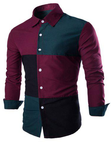 Unique Fashion Shirt Collar Color Block Stitching Slimming Long Sleeve Cotton Blend Shirt For Men - L RED AND GREEN Mobile