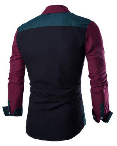Fashion Fashion Shirt Collar Color Block Stitching Slimming Long Sleeve Cotton Blend Shirt For Men - L RED AND GREEN Mobile