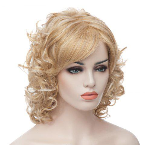 Best Fashion Fluffy Charming Medium Curly Light Blonde Synthetic Capless Wig For Women - LIGHT GOLD  Mobile