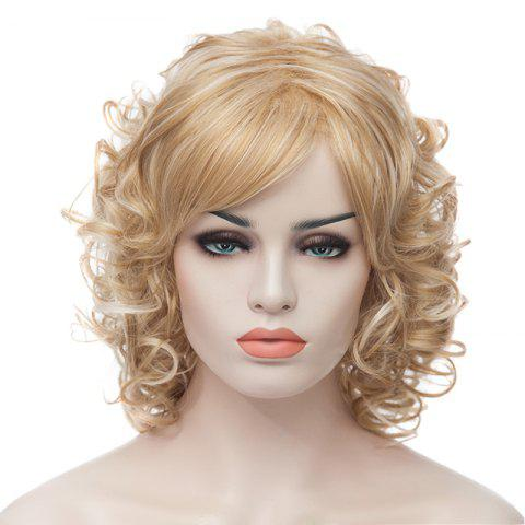 Fashion Fluffy Charming Medium Curly Light Blonde Synthetic Capless Wig For Women - LIGHT GOLD