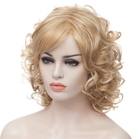 Cheap Fashion Fluffy Charming Medium Curly Light Blonde Synthetic Capless Wig For Women - LIGHT GOLD  Mobile