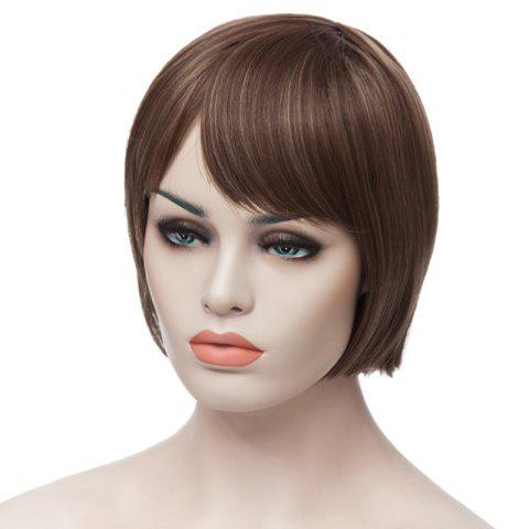 Trendy Fashion Side Bang Charming Short Straight Bob Mixed Color Synthetic Capless Wig For Women - COLORMIX  Mobile