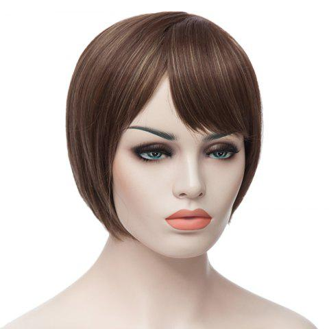 New Fashion Side Bang Charming Short Straight Bob Mixed Color Synthetic Capless Wig For Women - COLORMIX  Mobile