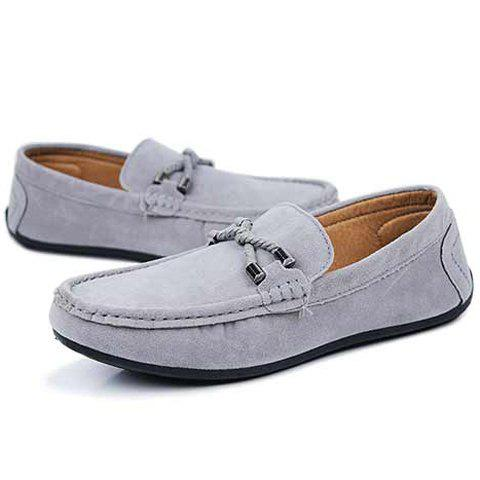 Fashion Concise Style Suede and Flat Design Men's Loafers - 42 GRAY Mobile