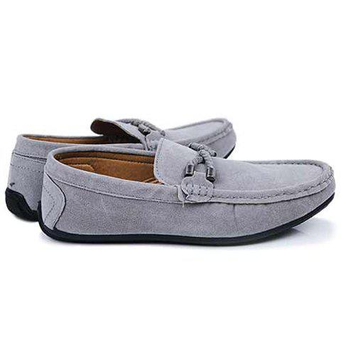 Cheap Concise Style Suede and Flat Design Men's Loafers - 42 GRAY Mobile