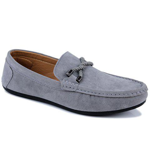 Trendy Concise Style Suede and Flat Design Men's Loafers GRAY 42